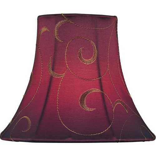 Lite Source Lighting Red Jacquard Bell Lamp Shade with Clip-On Assembly CH5125-6