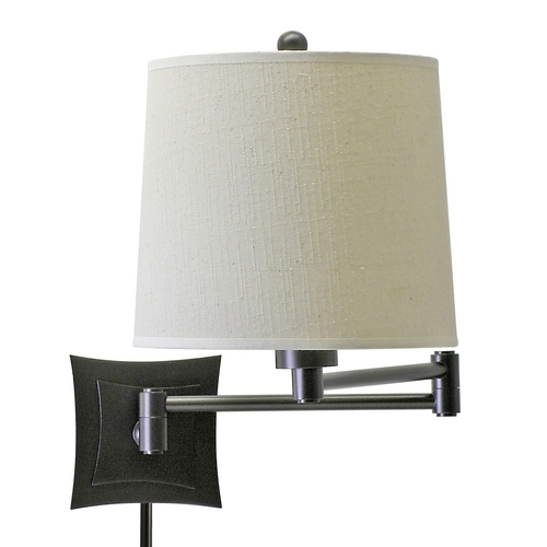 House of Troy Lighting Wall Swing Oil Rubbed Bronze with Linen Hardback Shade WS752-OB