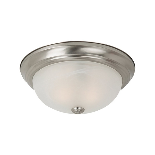 Sea Gull Lighting Flushmount Light with Alabaster Glass in Brushed Nickel Finish 75940BLE-962