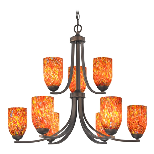 Design Classics Lighting Modern Chandelier with Art Glass in Bronze Finish 586-220 GL1012D