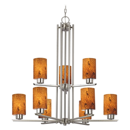 Design Classics Lighting Chandelier with Brown Art Glass in Satin Nickel - 9-Lights 1122-1-09 GL1001C