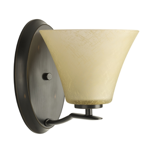 Progress Lighting Progress Sconce Wall Light with Brown Glass in Antique Bronze Finish P2004-20
