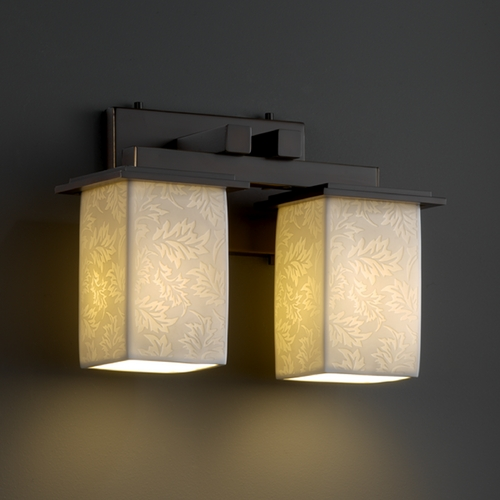 Justice Design Group Justice Design Group Limoges Collection Bathroom Light POR-8672-15-LEAF-DBRZ