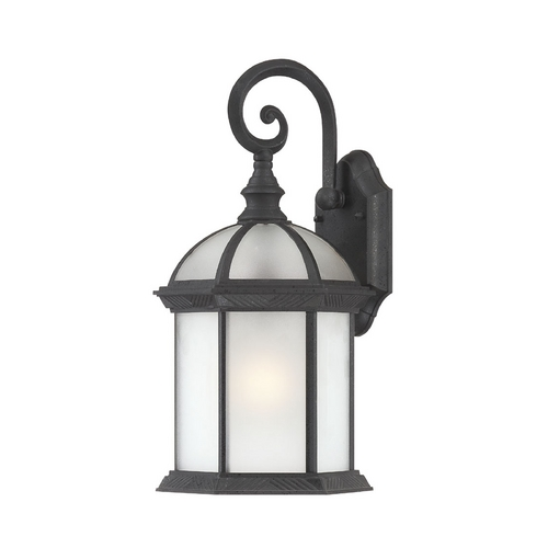 Nuvo Lighting Outdoor Wall Light with White Glass in Textured Black Finish 60/4989