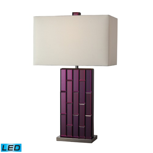 Dimond Lighting Dimond Lighting Purple Mirror, Black Nickel LED Table Lamp with Rectangle Shade D2162-LED