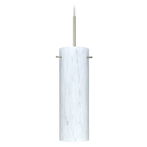 Besa Lighting Besa Lighting Copa Satin Nickel LED Mini-Pendant Light with Cylindrical Shade 1BT-493019-LED-SN