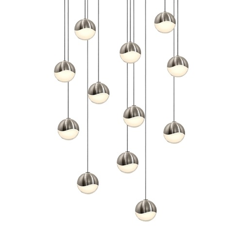 Sonneman Lighting Sonneman Grapes Satin Nickel 12 Light LED Multi-Light Pendant 2917.13-SML