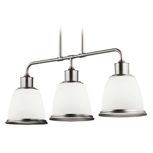 Feiss Lighting Feiss Lighting Hobson Satin Nickel Island Light with Bowl / Dome Shade F3017/3SN