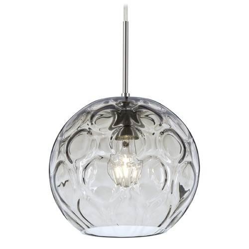 Besa Lighting Besa Lighting Bombay Satin Nickel Mini-Pendant Light with Globe Shade 1JT-BOMYCL-SN
