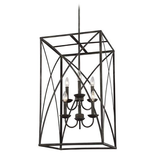 Sea Gull Lighting Sea Gull Lighting Greenbrier Iron Oxide Pendant Light with Rectangle Shade F3197/6IO