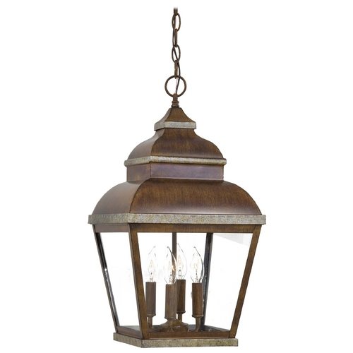 Minka Lavery Outdoor Hanging Light with Clear Glass in Mossoro Walnut W/silver Highlights Finish 8268-161