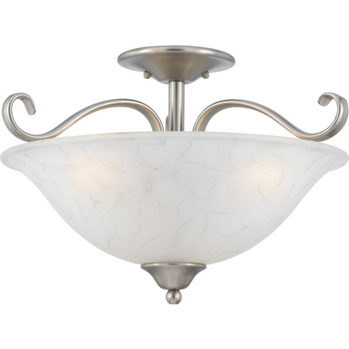 Quoizel Lighting Semi-Flushmount Light with White Glass in Antique Nickel Finish DH1718AN