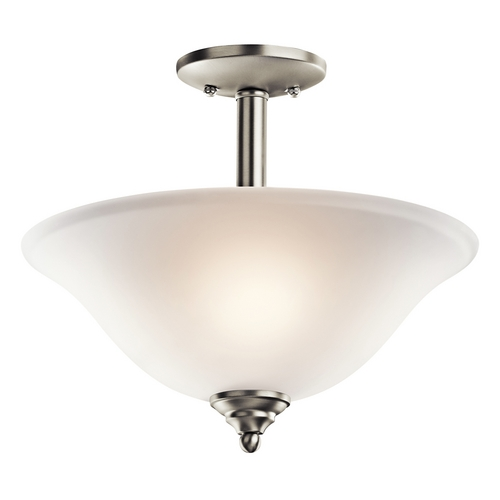 Kichler Lighting Kichler Brushed Nickel Semi-Flushmount Light with White Glass 3694NI