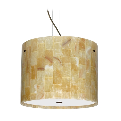 Besa Lighting Modern Pendant Light with Beige / Cream Onyx in Bronze Finish 1KV-4007MX-BR
