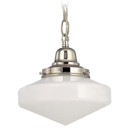 Design Classics Lighting 8-Inch Retro Style Mini-Pendant Light with Schoolhouse Glass and Chain FB4-15 / GE8 / B-15