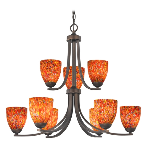 Design Classics Lighting Modern Chandelier with Art Glass in Neuvelle Bronze Finish 586-220 GL1012MB