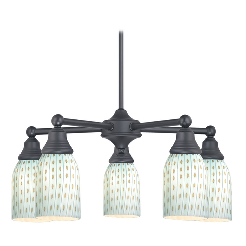 Design Classics Lighting Black Chandelier with Turquoise Glass 5 Lt 597-07 GL1003D