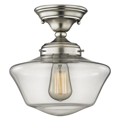 Design Classics Lighting 10-Inch Clear Glass Schoolhouse Ceiling Light in Satin Nickel Finish FAS-09 / GA10-CL