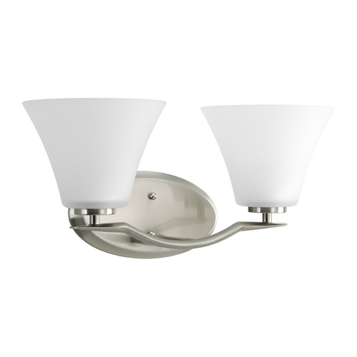 Progress Lighting Progress Bathroom Light with White Glass in Brushed Nickel Finish P2005-09