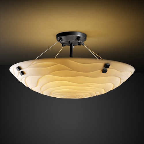 Justice Design Group Justice Design Group Porcelina Collection Semi-Flushmount Light PNA-9651-35-WAVE-MBLK-F2