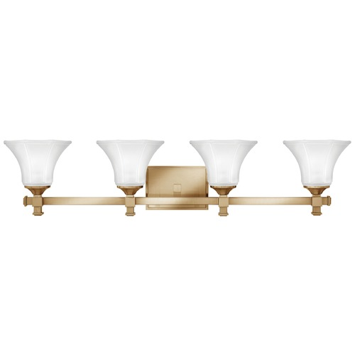 Hinkley Lighting Bathroom Light with White Glass in Brushed Caramel Finish 5854BC