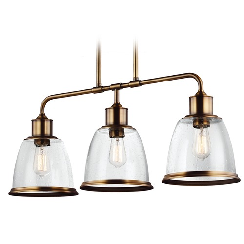 Feiss Lighting Feiss Lighting Hobson Aged Brass Island Light with Bowl / Dome Shade F3019/3AGB