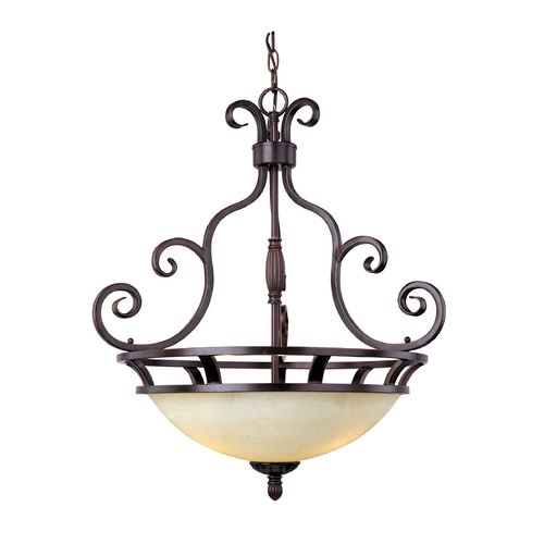 Maxim Lighting Maxim Lighting Manor Oil Rubbed Bronze Pendant Light with Bowl / Dome Shade 12202FIOI