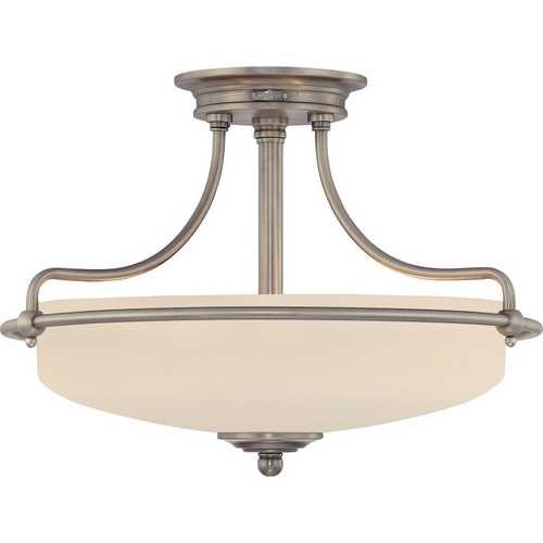 Quoizel Lighting Semi-Flushmount Light with White Glass in Antique Nickel Finish GF1717AN