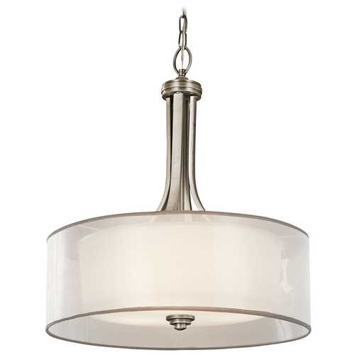 Kichler Lighting Kichler Drum Pendant Light with White Glass in Antique Pewter Finish 42385AP