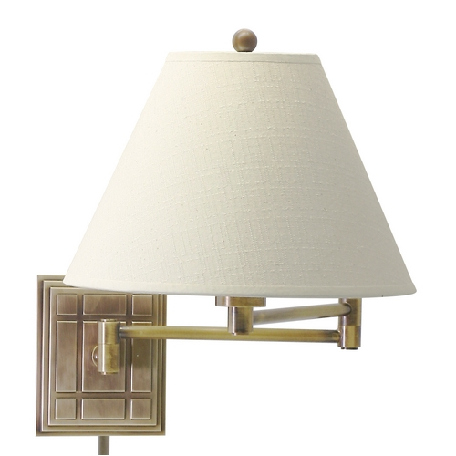 House of Troy Lighting Swing Arm Lamp with White Shade in Antique Brass Finish WS750-AB