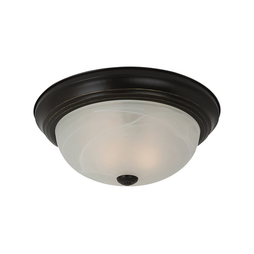 Sea Gull Lighting Flushmount Light with Alabaster Glass in Heirloom Bronze Finish 75942-782
