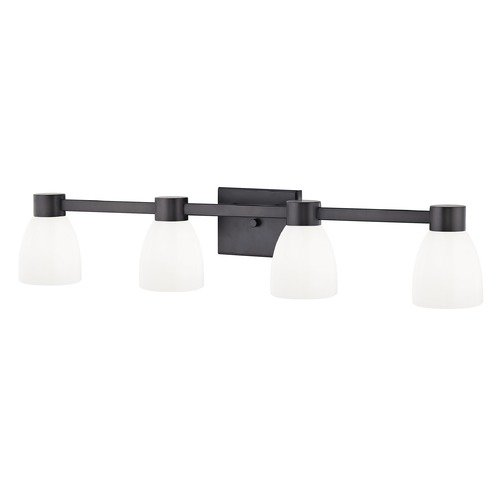 Design Classics Lighting 4-Light Shiny White Glass Bathroom Vanity Light Bronze 2104-220 GL1024MB