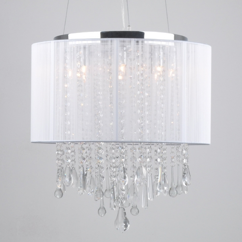 Avenue Lighting Beverly Drive Crystal Pendant with White Drum Lamp Shade HF1501-WHT