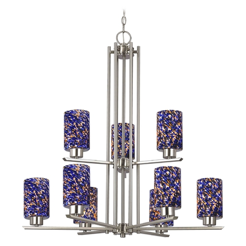 Design Classics Lighting Chandelier with Blue Art Glass in Satin Nickel Finish - 9-Lights 1122-1-09 GL1009C