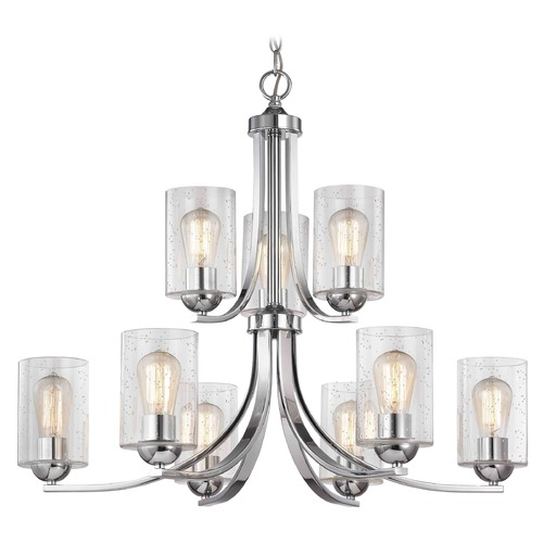 Design Classics Lighting Seeded Glass Chandelier Chrome 2-Tier 9 Lt 586-26 GL1041C