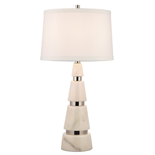 Hudson Valley Lighting Modena 1 Light Table Lamp Drum Shade - Polished Nickel L789-PN-WS