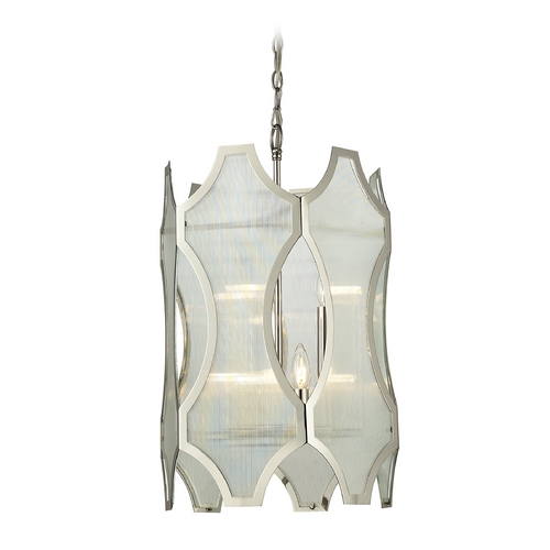 Elk Lighting Pendant Light with White Glass in Polished Nickel Finish 31457/3+3