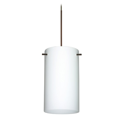 Besa Lighting Besa Lighting Stilo 7 Bronze LED Mini-Pendant Light with Cylindrical Shade 1XT-440407-LED-BR