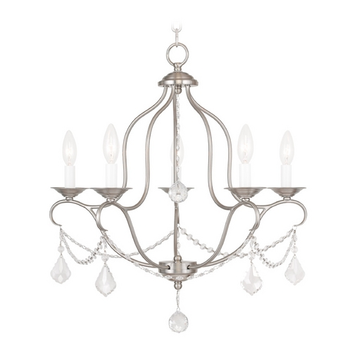 Livex Lighting Livex Lighting Chesterfield Brushed Nickel Crystal Chandelier 6435-91