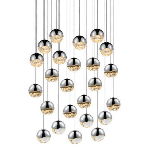 Sonneman Lighting Sonneman Grapes Polished Chrome 24 Light LED Multi-Light Pendant 2918.01-LRG