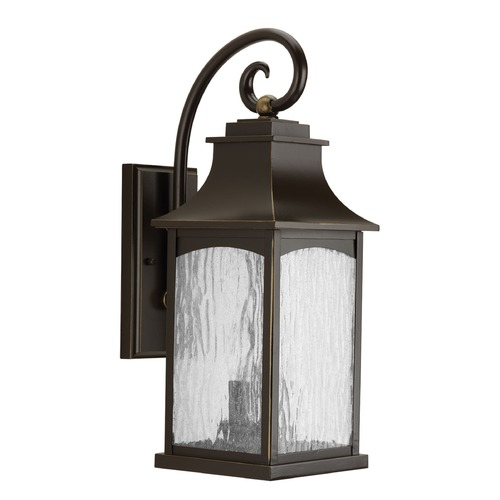 Progress Lighting Water Seeded Glass Outdoor Wall Light Oil Rubbed Bronze Progress Lighting P5754-108