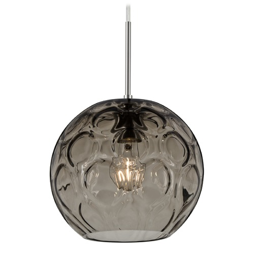 Besa Lighting Besa Lighting Bombay Satin Nickel Mini-Pendant Light with Globe Shade 1JT-BOMYSM-SN