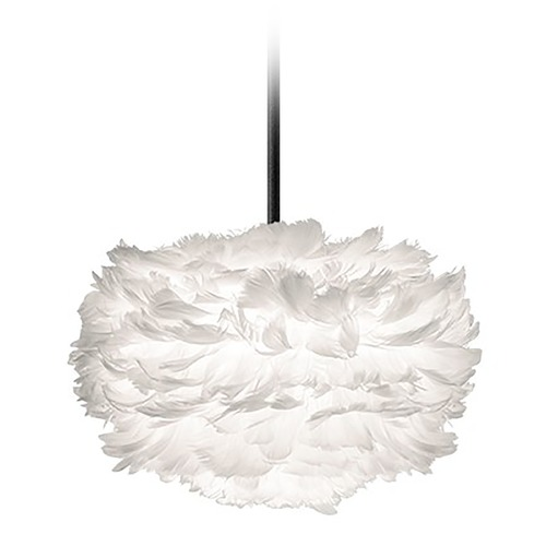 UMAGE UMAGE Black Pendant Light with White Feather Shade 3001_4010