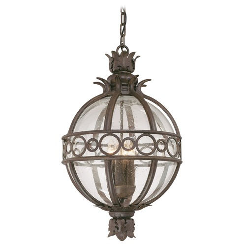 Troy Lighting Outdoor Hanging Light with Clear Glass in Campanile Bronze Finish F5008CB