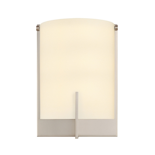 Sonneman Lighting Modern Sconce Wall Light with White Glass in Satin Nickel Finish 3671.13