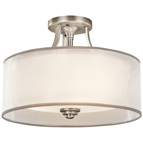 Kichler Lighting Kichler Semi-Flushmount Light with White Glass in Pewter Finish 42386AP