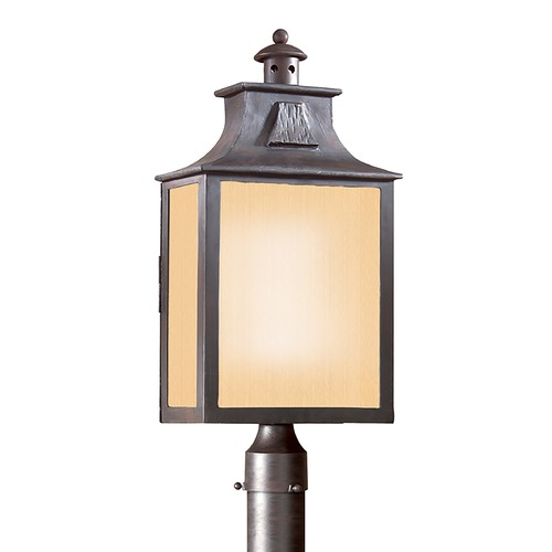 Troy Lighting Post Light with Beige / Cream Glass in Old Bronze Finish PF9006OBZ