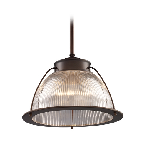 Elk Lighting Pendant Light with Clear Glass in Aged Bronze Finish 60014-1