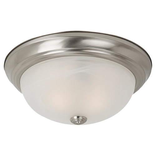 Sea Gull Lighting Flushmount Light with Alabaster Glass in Brushed Nickel Finish 75942-962