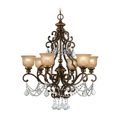 Crystorama Lighting Crystal Chandelier with Amber Glass in Bronze Umber Finish 7516-BU-CL-S